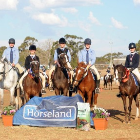 NSW placed 3rd in the Teams Junior Dressage Championships with riders (L-R) James Smith, Jorja Power, Lara Hamblin, Krystal Taylor and Belle Edwards. Photo: OzShotz