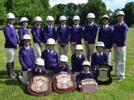 Jingellic Pony Club members pictured with all the shields won at last year's Zone 20 Gymkhana