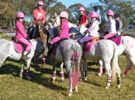 Londonderry Pony Club riders compare 'pinkness' at their recent charity day for the Breast Cancer Network Australia